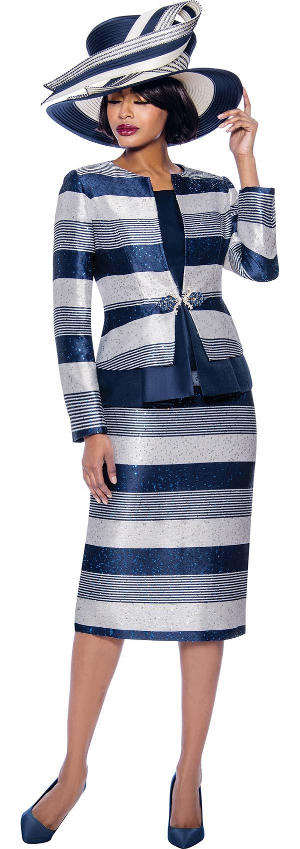Susanna 3927-Navy - Multi Stripe Design Three Piece Skirt Suit