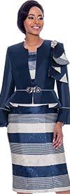 Susanna 3930 - Two Piece Striped Dress And Peplum Bell Cuff Jacket