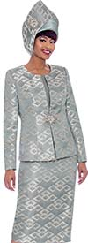 Susanna 3932-Steel - Three Piece Womens Church Suit With Multidimensional Print Design