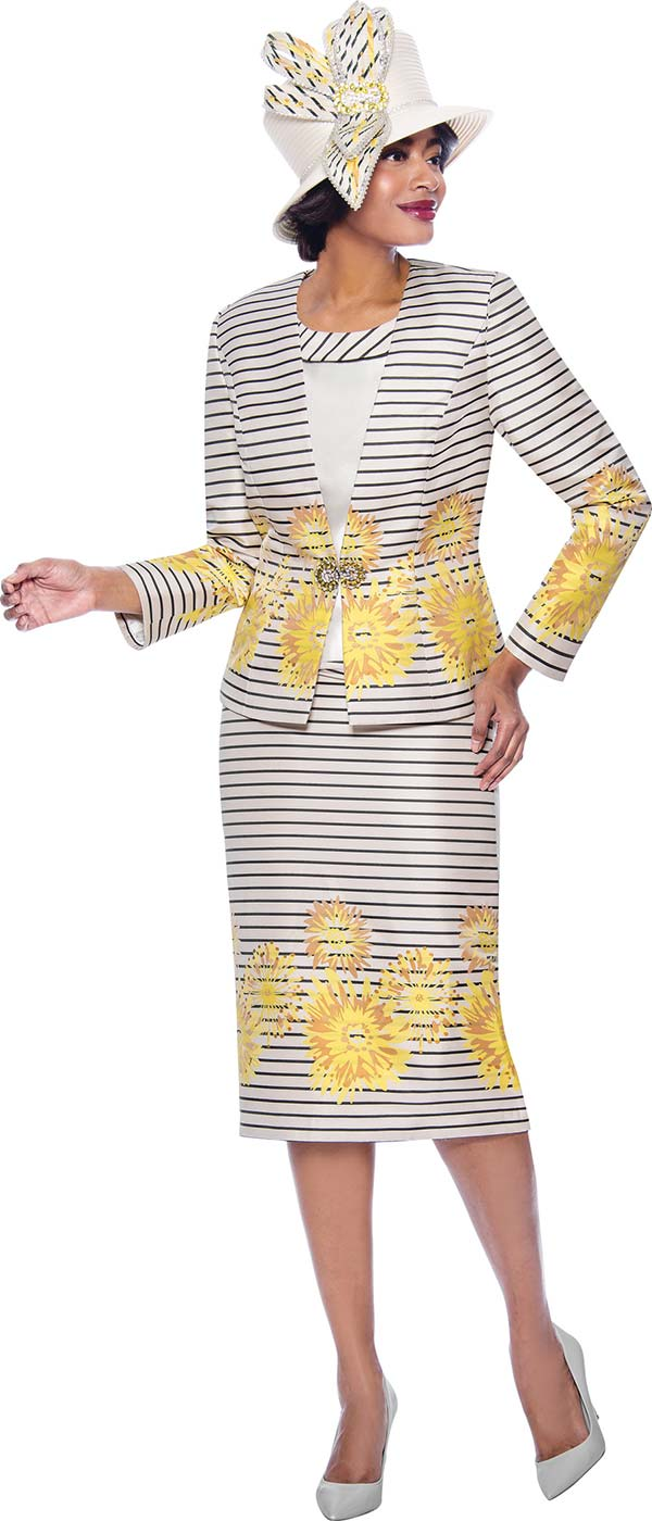 Susanna 3939 - Three Piece Skirt Suit With Striped And Floral Print Design