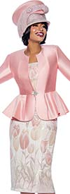 Susanna 3940 - Three Piece Skirt Suit With Floral Tulip Print Design And Solid Color Peplum Jacket