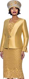 Susanna 3941-Gold - Womens Church Suit With Lace Textured Skirt And Jacket Cuffs