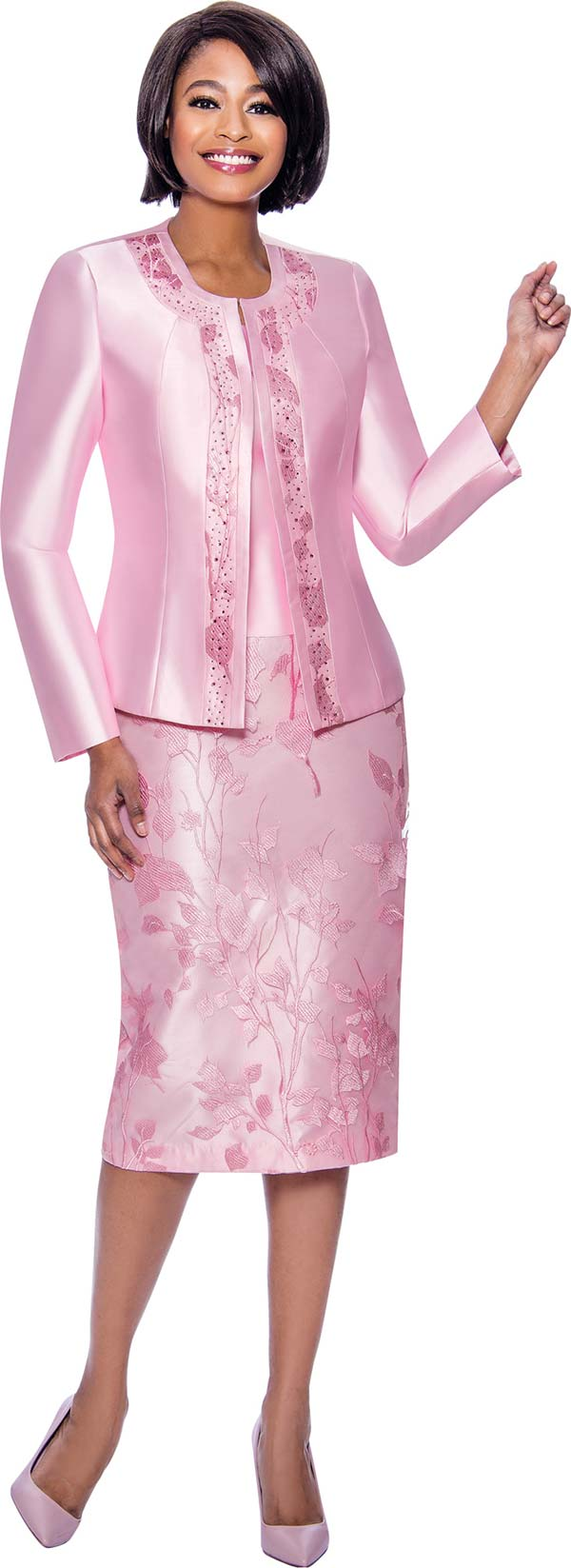 Susanna 3942-Pink - Ladies Church Suit With Floral Textured Skirt Embellished Jacket Trim