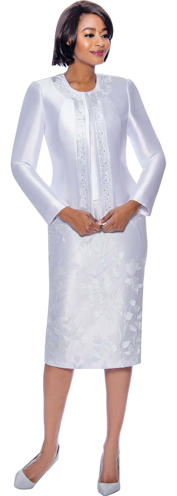 Susanna 3942-White - Ladies Church Suit With Floral Textured Skirt Embellished Jacket Trim
