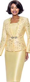 Susanna 3943-Yellow - Three Piece Church Suit With Organza Ruffle Trimmed Jacket