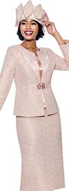 Susanna 3946 - Three Piece Womens Church Suit With Intricate Pattern Design On Jacket