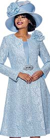 Susanna 3948-Blue - Two Piece Womens Church Dress With Long Jacket And Fabric Bow