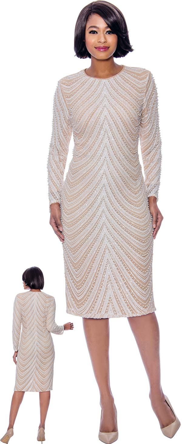 Susanna 3949 - Longsleeve Dress With Beaded Wavy Stripe Design
