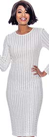 Susanna 3951 - Longsleeve Dress With Vertical Beaded Stripe Design