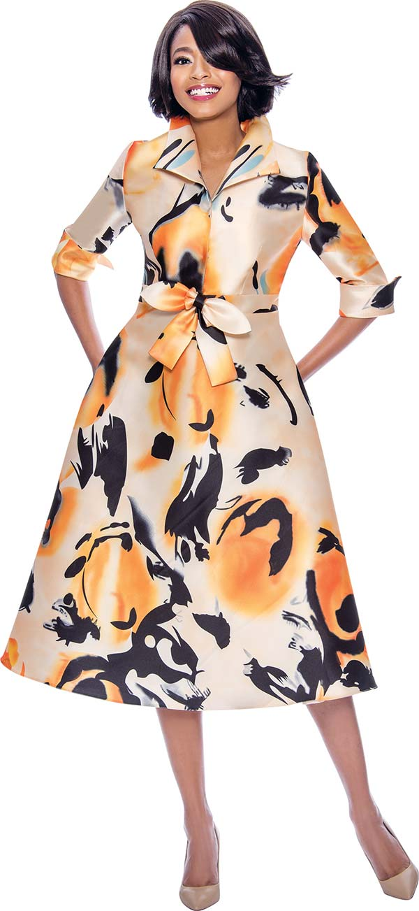 Susanna 3952 Abstract Printed Roll Cuff A-Line Dress With Wing Collar And Sash