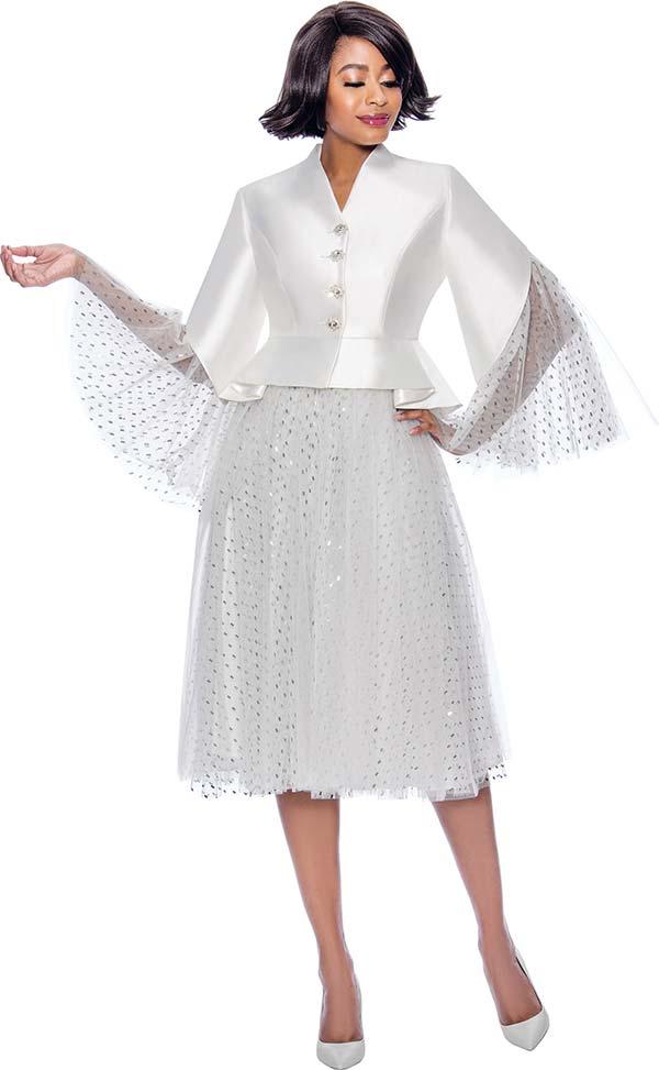 Susanna 3955 Vee Neckline Bell Sleeve Dress In Organza And Silky Look Fabrics