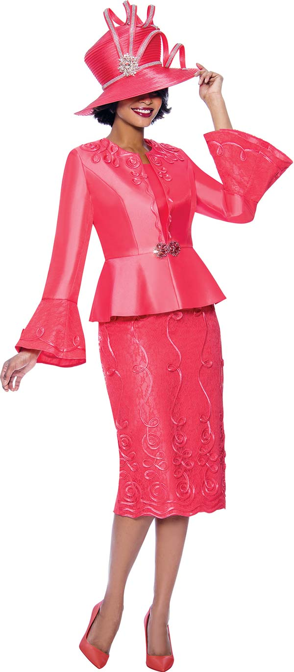 Susanna 3957-Coral - Ladies Church Suit With Peplum Bell Cuff Jacket Featuring Swirl Piping Design