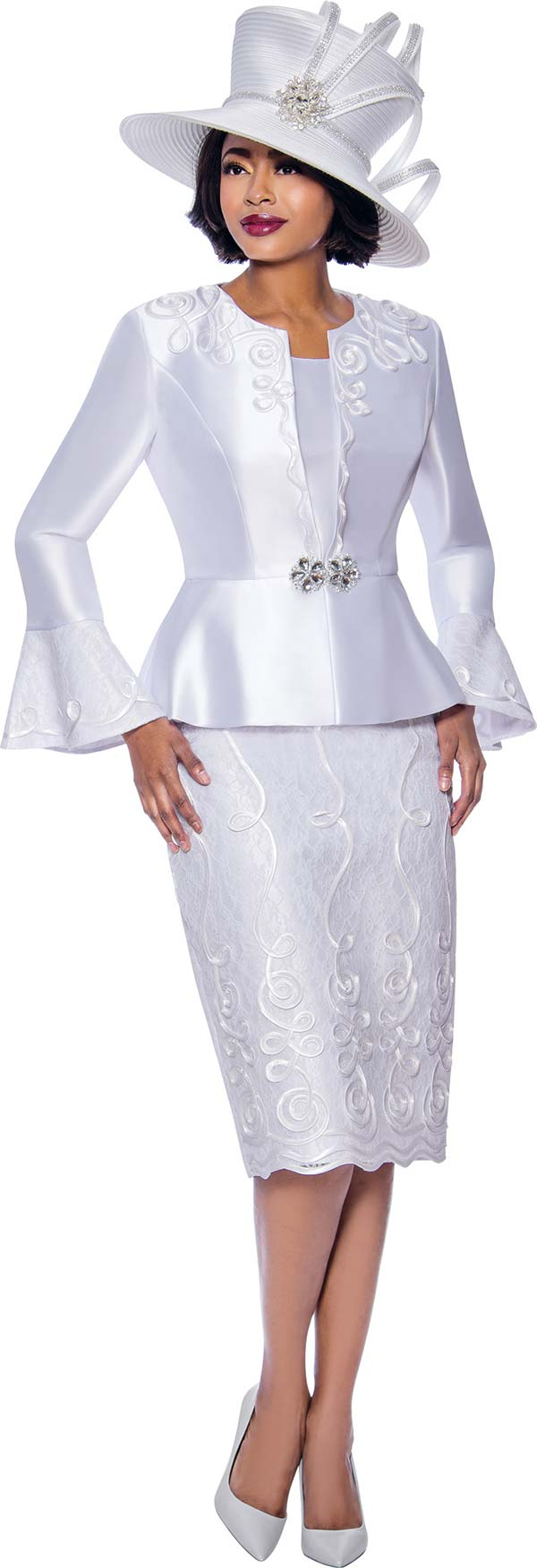 Susanna 3957-White - Ladies Church Suit With Peplum Bell Cuff Jacket Featuring Swirl Piping Design