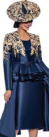 Susanna 3959-Navy - Three Piece Womens Church Suit With Layered Peplum Jacket And Side Panel Design