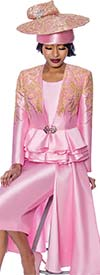 Susanna 3959-Pink - Three Piece Womens Church Suit With Layered Peplum Jacket And Side Panel Design