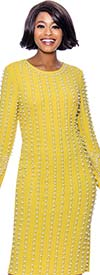Susanna 3961-Lemon - Long Sleeve Jewel Neckline Dress With Vertical Bead & Pearl Details