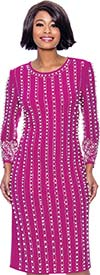 Susanna 3961-Magenta - Long Sleeve Jewel Neckline Dress With Vertical Bead & Pearl Details