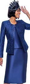 Susanna 3885-Navy - Womens Church Suit With Trim Embellished Brocade Style Jacket