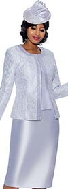 Susanna 3885-White - Church Suit With Trim Embellished Brocade Style Jacket