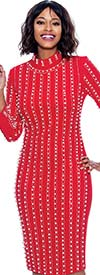 Susanna 3924-Red - Long Sleeve High Collar Dress With Vertical Bead & Pearl Details