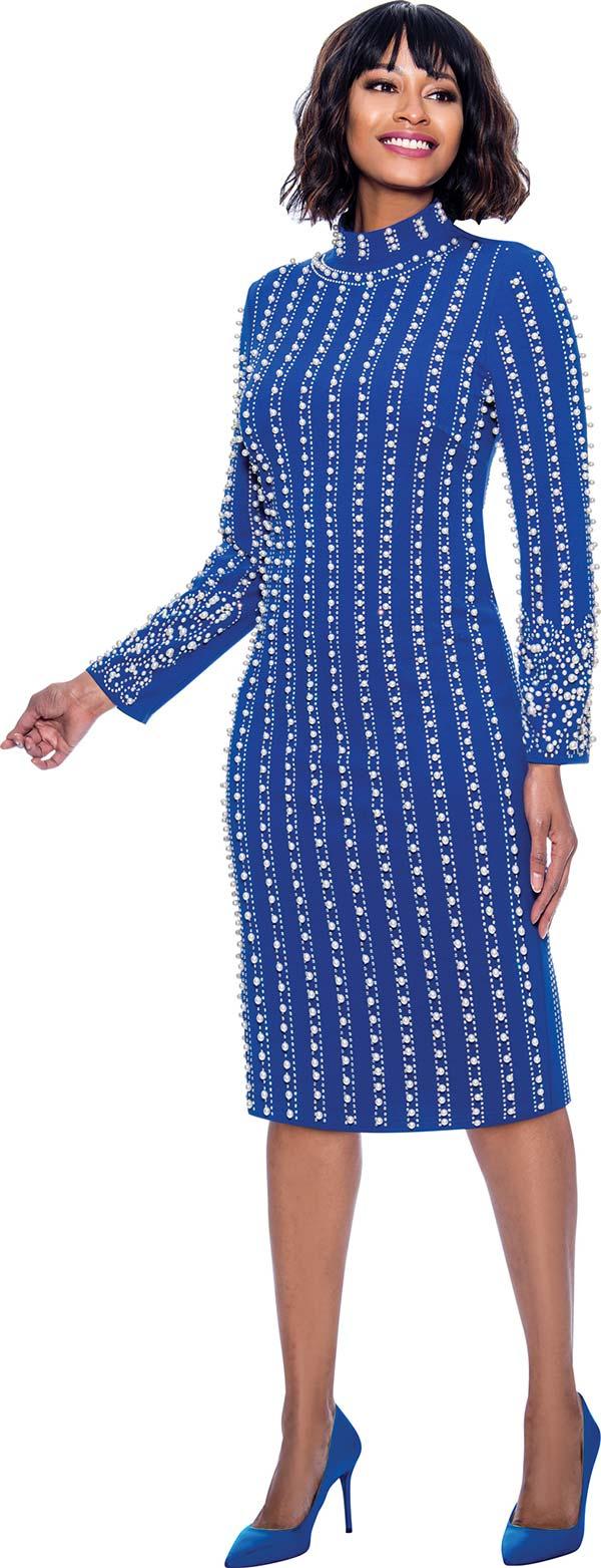 Susanna 3924-Royal - Long Sleeve High Collar Dress With Vertical Bead & Pearl Details