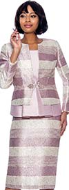 Susanna 3927-Mauve - Multi Stripe Design Three Piece Skirt Suit