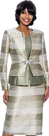 Susanna 3927-Sage - Multi Stripe Design Three Piece Skirt Suit