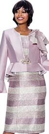 Susanna 3930-Mauve - Two Piece Striped Dress And Peplum Bell Cuff Jacket