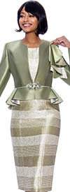 Susanna 3930-Sage - Two Piece Striped Dress And Peplum Bell Cuff Jacket