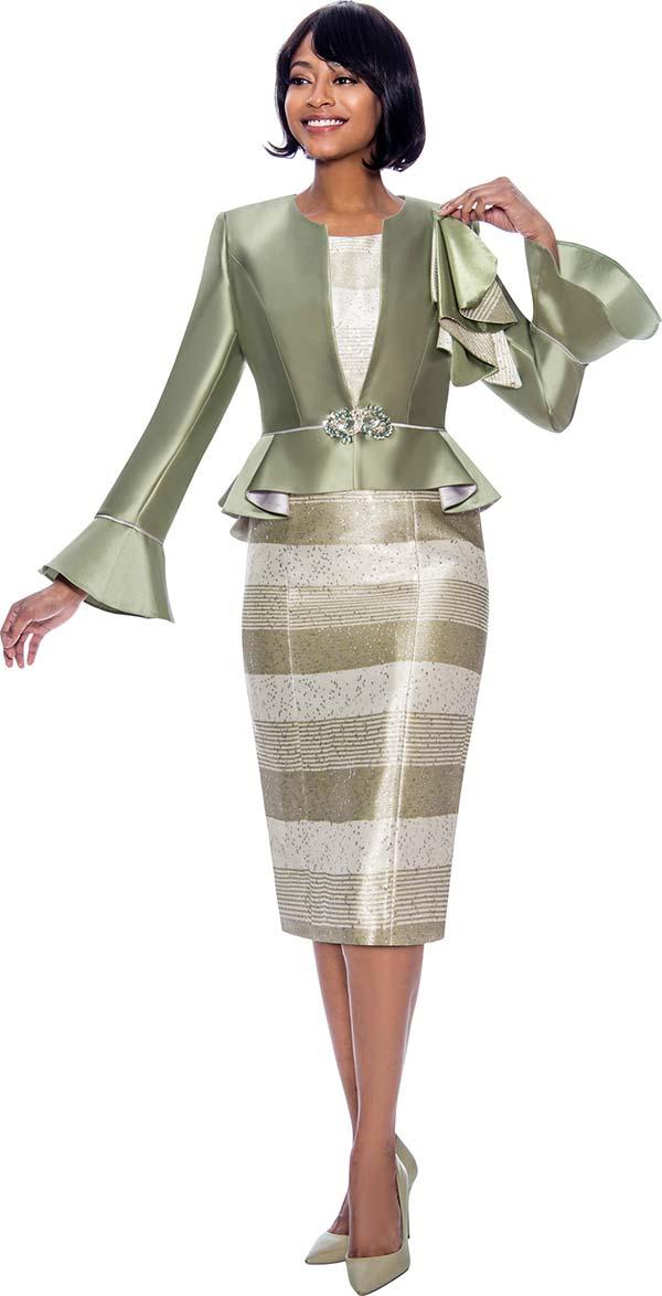 Susanna 3930-Sage - Two Piece Striped Dress And Peplum Bell Cuff Jacket