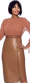 Susanna 3962-Camel - Womens Dress In Faux Leather And Mesh Fabric With Grommet Trims