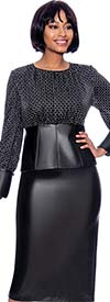 Susanna 3966 - Faux Leather Skirt & Trimmed Jacket Set With Grid Pattern And Bishop Sleeves