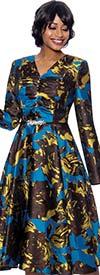 Susanna 3971 - Floral Print V-Neck A-Line Longsleeve Dress