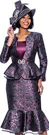 Susanna 3972 - Print Design Mermaid Flounce Skirt Suit With Peplum Jacket