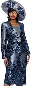 Susanna 3975 - Lace Embroidery Design Womens Three Piece Skirt Suit