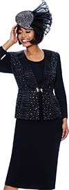 Susanna 3980-Black - Skirt Suit With Rhinestone And Satin Ruffle Detailed Jacket