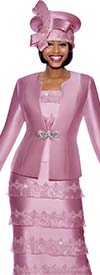 Susanna 3981-Pink - Skirt Suit With Rhinestone Embellished Organza Tier Design