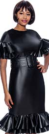 Susanna 3983 - Womens Faux Leather Fabric Dress With Ruffle Flounce Trims