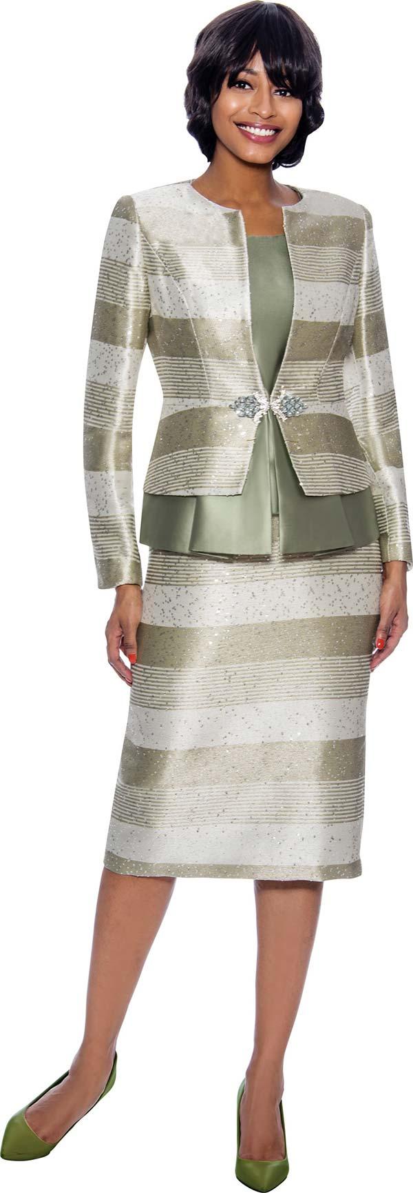 Susanna 3927-Sage - Multi Stripe Design Three Piece Skirt Suit