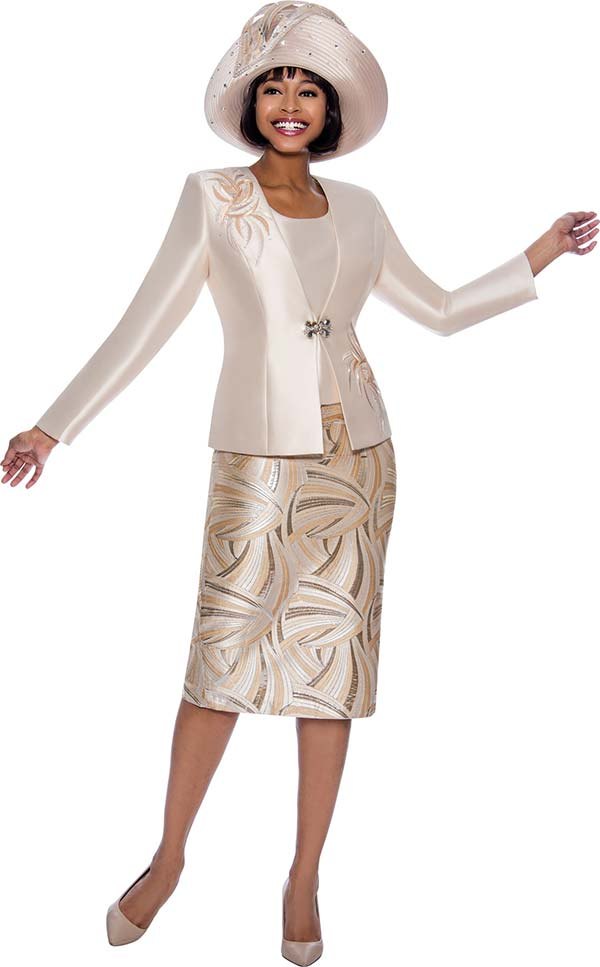 Susanna 3979 - Womens Church Suit With Pattern Skirt And Detail Jacket