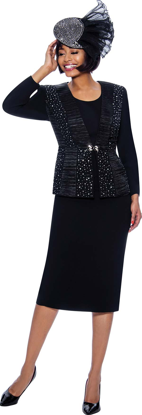 Susanna 3980-Black - Skirt Suit With Rhinestone And Satin Ruffle Detailed Jacket