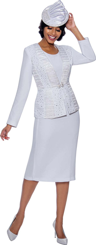 Susanna 3980-White - Skirt Suit With Rhinestone And Satin Ruffle Detailed Jacket