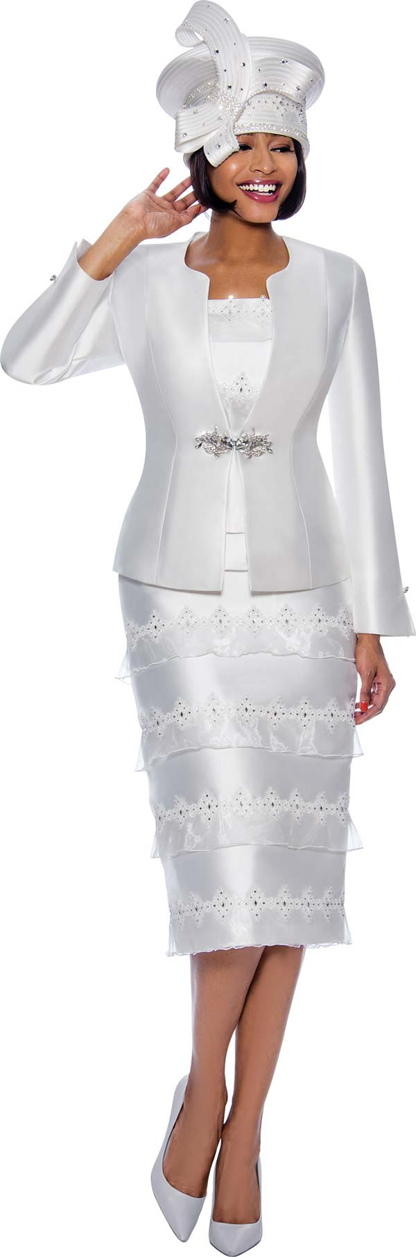Susanna 3981-White - Skirt Suit With Rhinestone Embellished Organza Tier Design