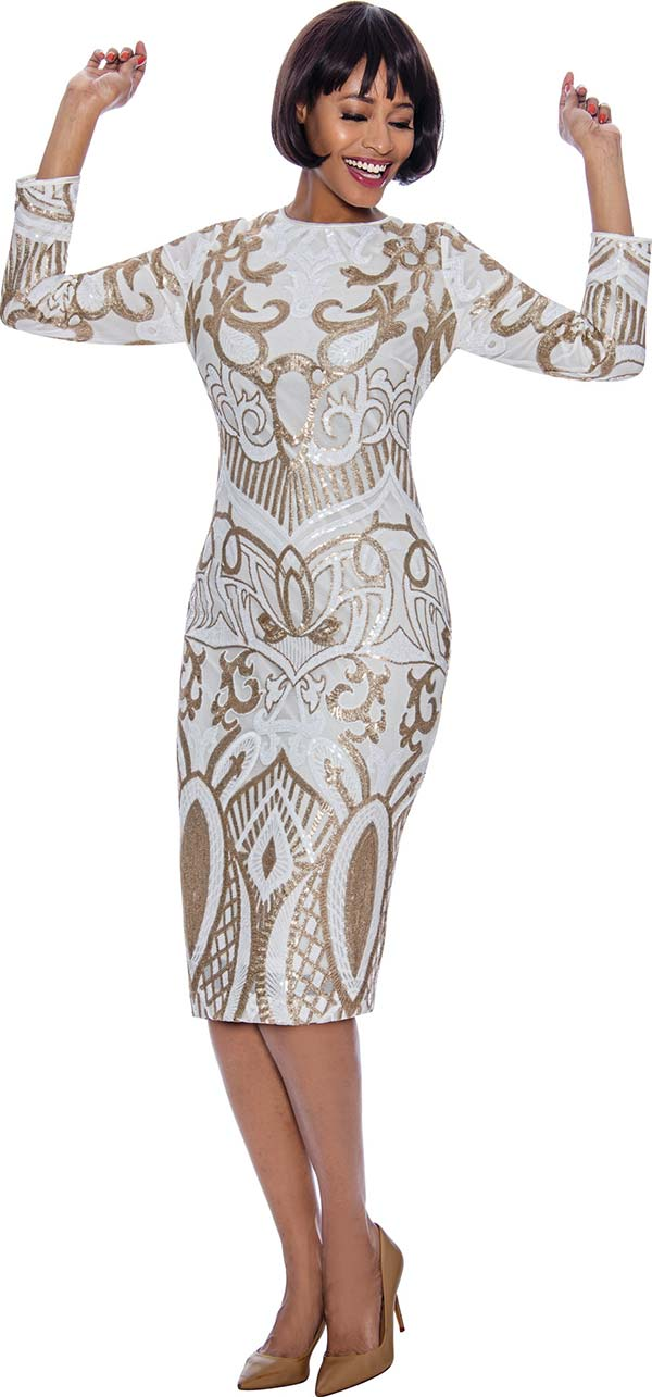Susanna 3982 - Womens Dress With Detailed Shimmer Pattern Design