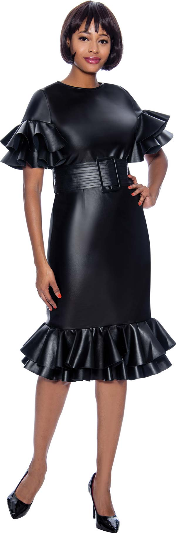 Susanna 3983 - Womens Faux Leather Fabric Dress With Ruffle Flounce Trims