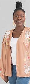 DG2 2400 - Womens Floral Embroidered Mega Sleeve Kimono