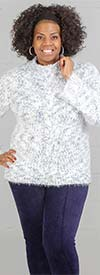 Skye's the Limit 58263-SkyBlue - Womens Mock-Neck Sweater With Cable Front Detail