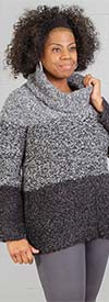 Skye's the Limit 58264-HeatherGray - Womens Cowl Neck Sweater In Marled Yarn Fabric With Stripe Design