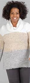 Skye's the Limit 58264-Vanilla - Womens Cowl Neck Sweater In Marled Yarn Fabric With Stripe Design