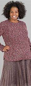 Skye's the Limit 58267-Garnet - Womens Marled Yarn Fabric Long-Sleeve Sweater